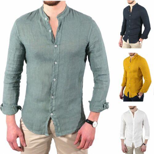 Camicia uomo slim fit LINO colletto alla coreana bianca blu verde senape S 3xl