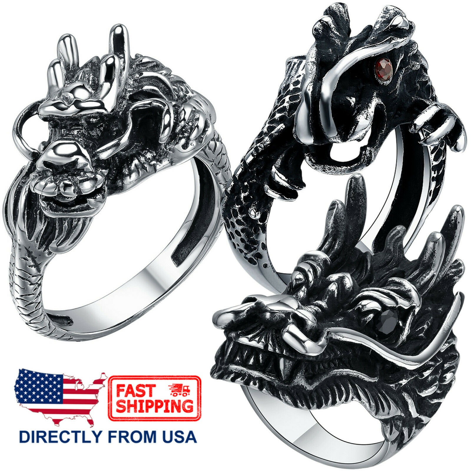 Men's Stainless Steel Gothic Halloween Biker Dragon Ring (Size 7 15, US Seller) Jewelry & Watches