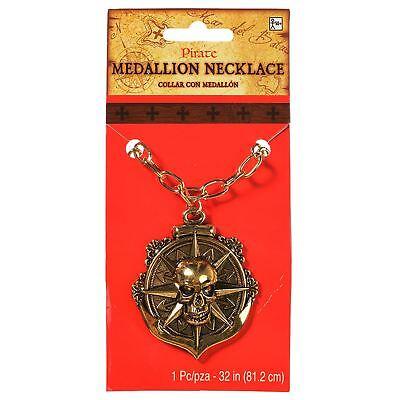 Erwachsene Azteken Piraten Schatz Gold Medaillon Münze Halskette Kostüm Schmuck