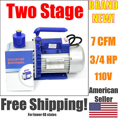 7 Cfm Two Stage Vacuum Pump 34 Hp Rotary Vane Deep 110v 60hz Hvac Ac Tool
