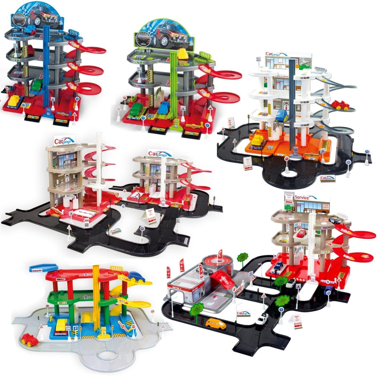 Parkgarage Parkhaus u.Spielteppich Spielstrasse Autogarage incl 6 Spielzeugautos