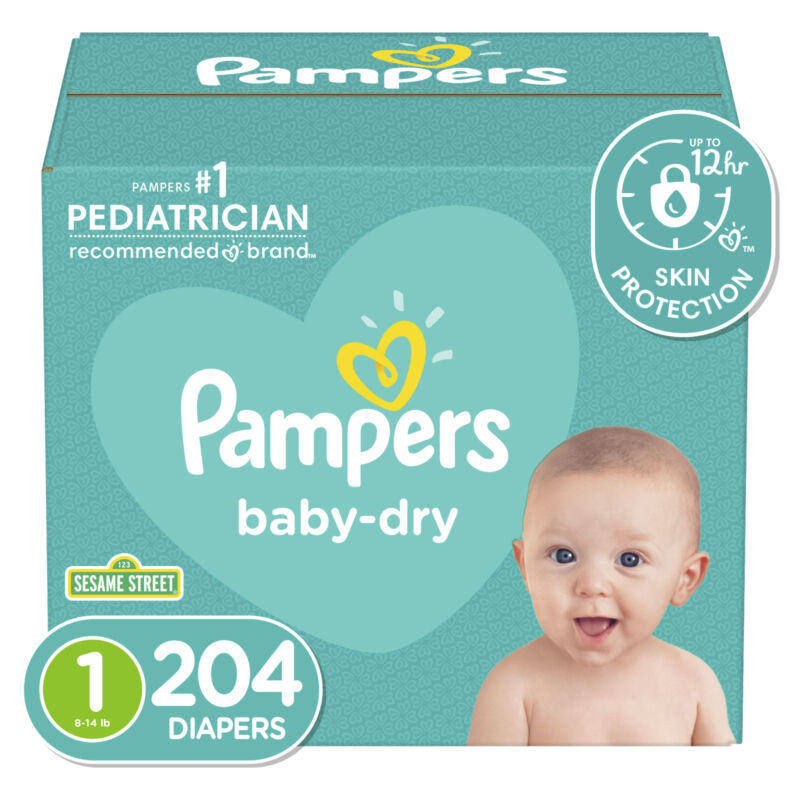 Pampers, Baby-dry, 212 cnt, 8 free Pampers Swaddlers, Size 1