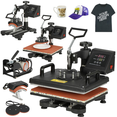 Swing away 5 in 1 Heat Press Machine 12″x15″ Combo Kit Sublimation For T-Shirts Business & Industrial