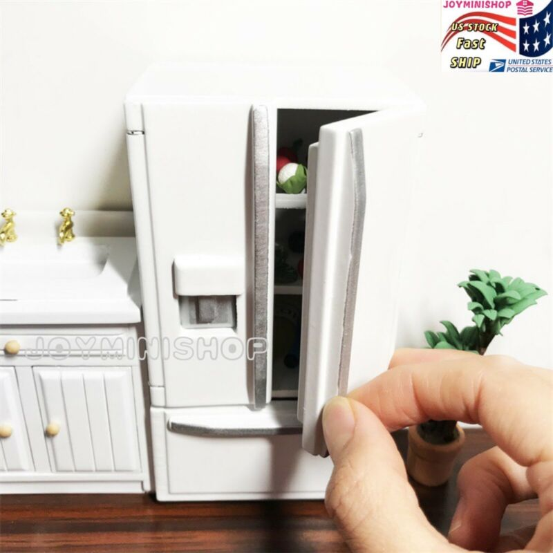 Miniature 1/12 WHITE Double-Door Wooden Refrigerator Dollhouse Model Kitchen TOY