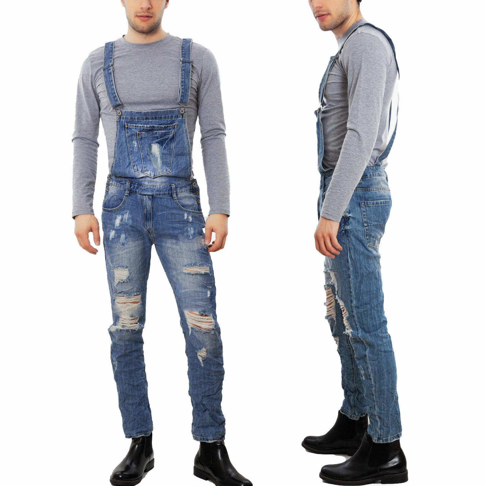 Salopette jeans donna tuta intera overall strappi boyfriend grunge nuova B007