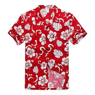 NWT Aloha Shirt Cruise Tropical Luau Beach Hawaiian Party Red Hibiscus Classic (Hawaiian Shirt Party)