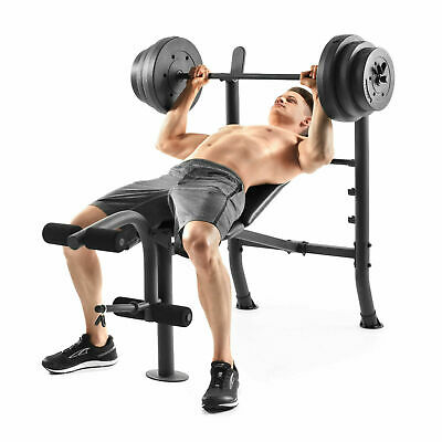 Weight Bench & 100lb Barbell Free Weights At Home Gym Exercise Combo Set Best