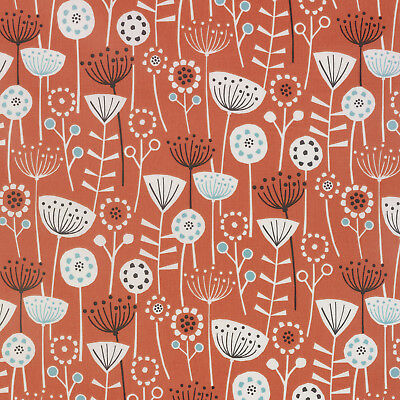 Bergen Burnt Orange Floral Scandinavian Oilcloth Wipe Clean Tablecloth All Sizes