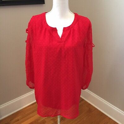 New Directions Womans size xl red sheer polka dot v-neck lace up sleeve -