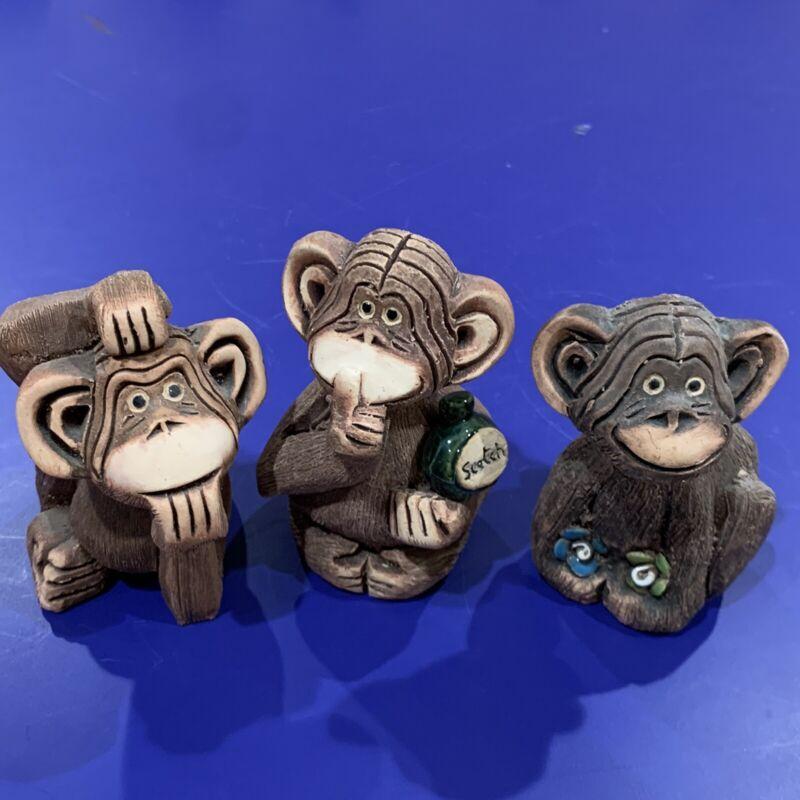 Vtg Artesania Rinconada Chimpanzees w/ Scotch Flowers and Thinking #45 #46 #47