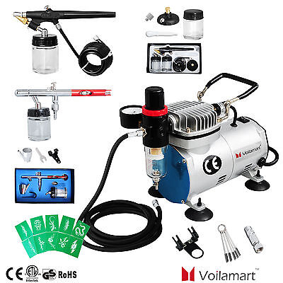 Voilamart 1/6HP Airbrush Kompressor Komplett Set 2 Airbrushpistole Spritzpistole