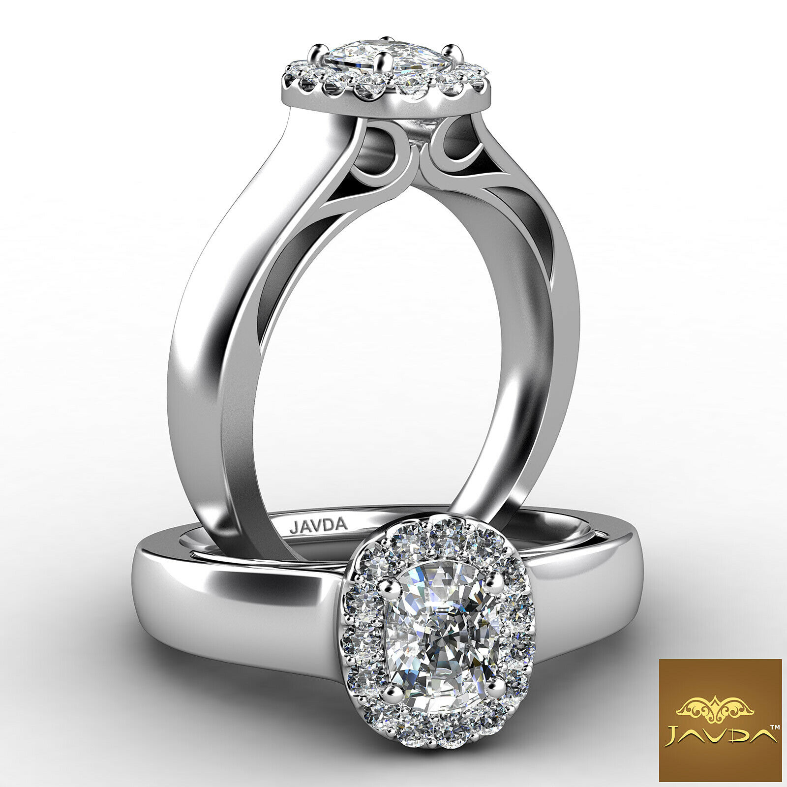 0.8Ct Cathedral Halo U Cut Pave Cushion Diamond Engagement Ring GIA F-VS1 W Gold