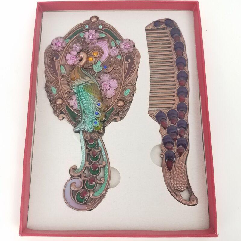 Maniya Iridescent Peacock Mirror And Comb Set, Brass Tone Base