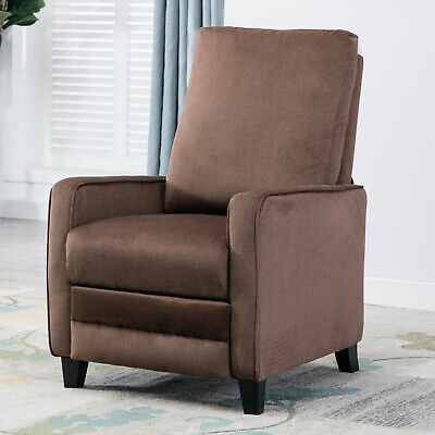 Cocoa Living Room (Modern Manual Recliner Chair Linen Track Arm Push Back Living Room Chocolate )
