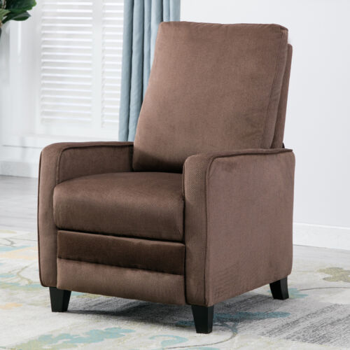 Modern Manual Recliner Chair Linen Track Arm Push Back Livin
