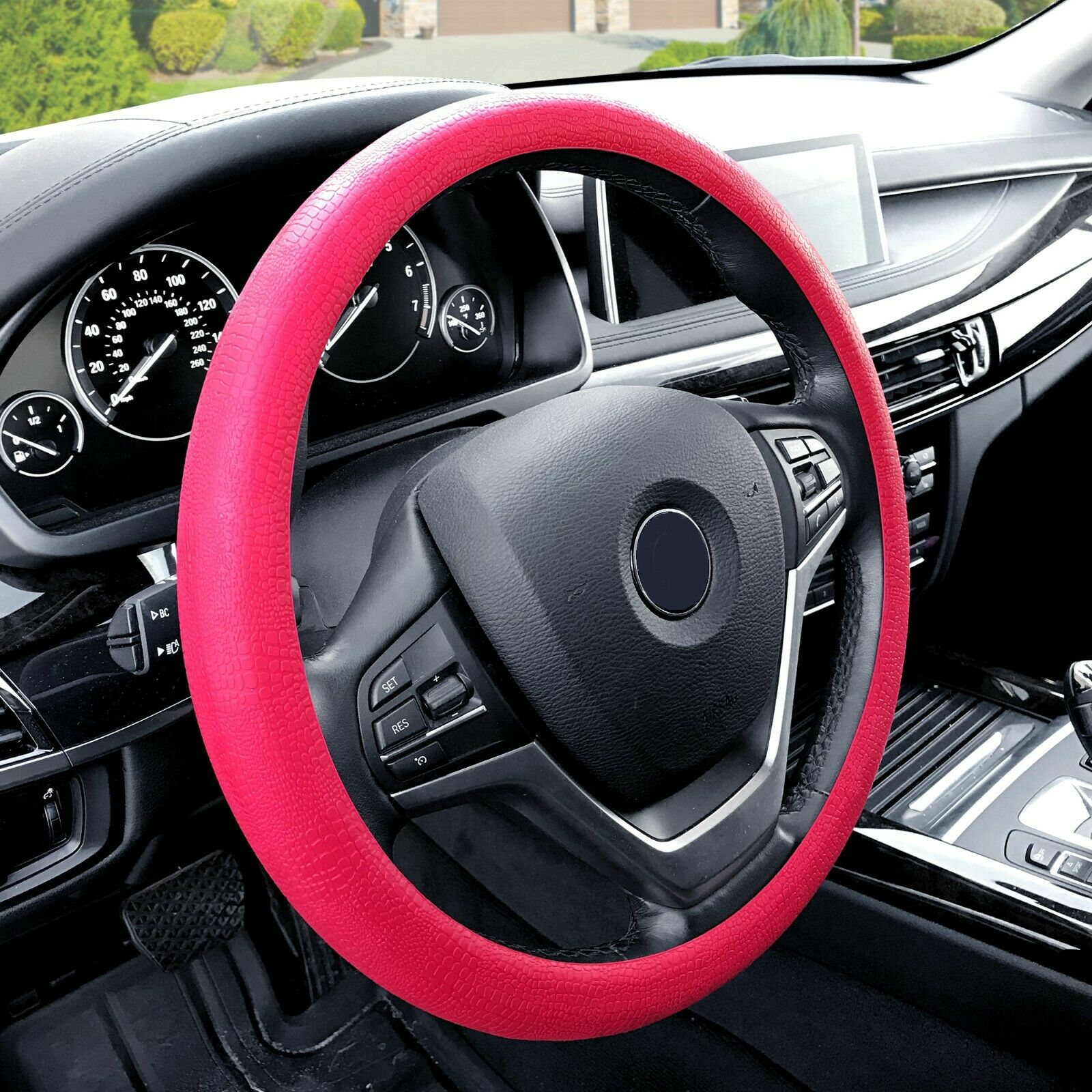 Car Silicone Steering Wheel Cover Snake Pattern Auto Accessory Universal Fit