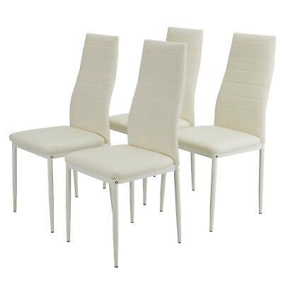4 Pcs Set Dining Room Chairs Kitchen High Back Chairs PU Leather Furniture White