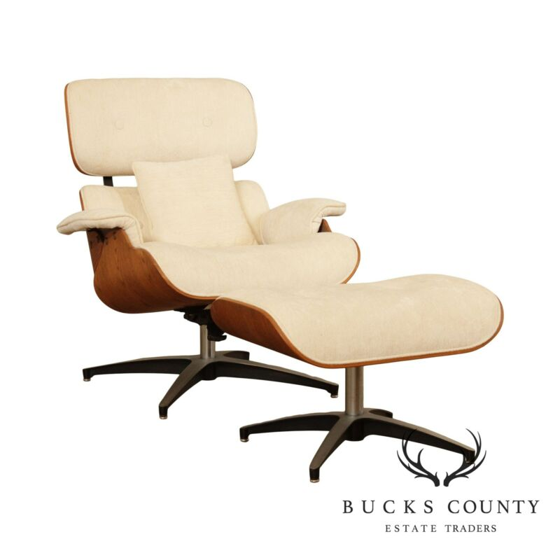 Mid Century Modern Eames Style Lounge Chair with Ottoman