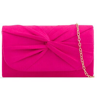 Plissee Damen Tasche (Fuchsia Rosa Plissee Wildleder Hochzeit Damen Party Clutch Handtasche)