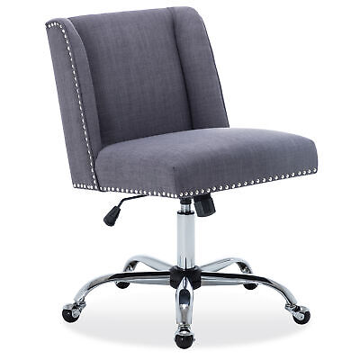 Fabric Task Chair Nailhead Trim Swivel Office Desk Chair Height Adjustable Gray