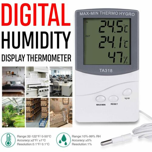HDE Digital Hygrometer Indoor Outdoor Thermometer Digital Hu