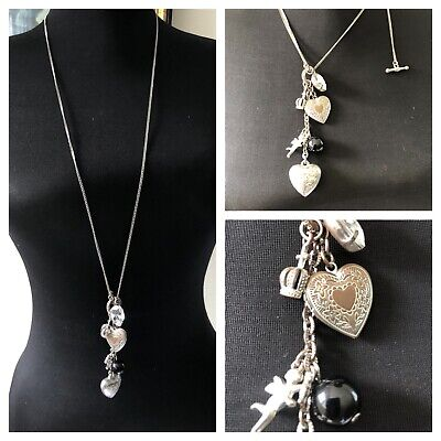 "Toggle Charm Necklace 16"" Heart Locket, Crown, Rhinestone, Cupid Angel - Silver"