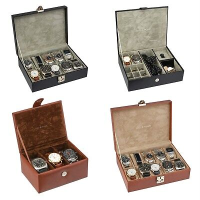 Mens Watch Box Jewellery Organiser Multi Section Storage Tidy Display Case NEW