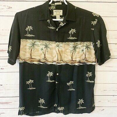 Palm Tree Resort - Bamboo Cay Black Palm Tree Print Resort Rayon Shirt Size L
