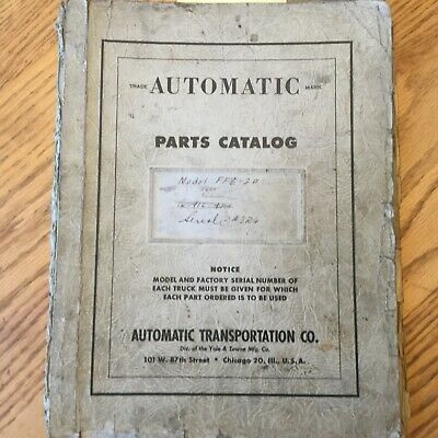 Automatic Ffe-20 Parts Manual Book Catalog List Electric Fork Lift Truck Yale