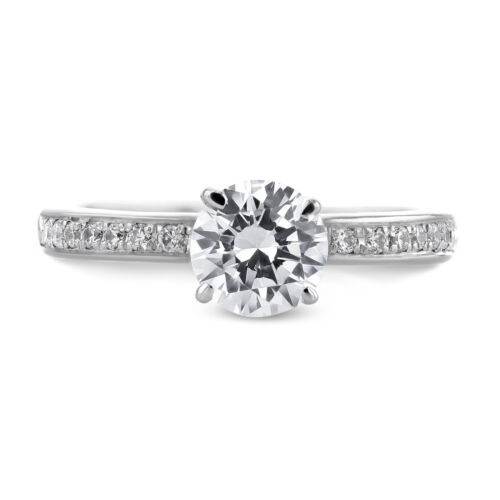 0.89 Carat Round Cut E - VS2 Pave Diamond GIA Engagement Ring custom size