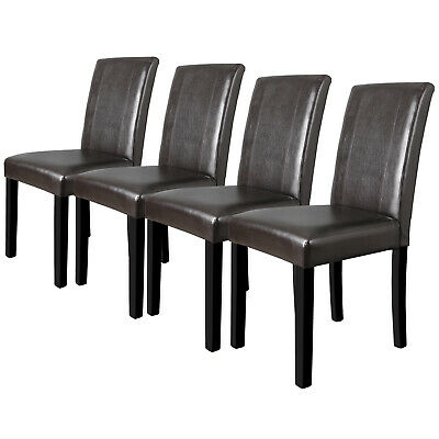 Dining Parson Chairs Set of 4 High Brown PU Leather Elegant Design Home Kitchen ()