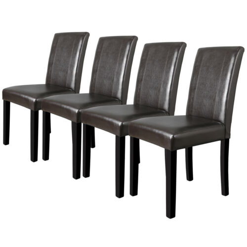 Dining Parson Chairs Set of 4 High Brown PU Leather Elegant Design Home Kitchen
