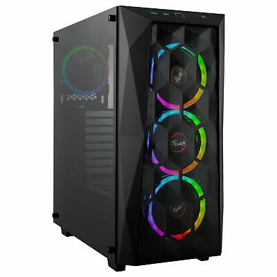 Rosewill ATX Mid Tower PC Gaming RGB Computer Case, Tempered Glass/Mesh/4 x Fans