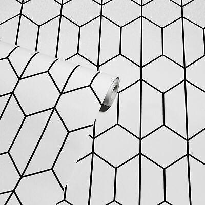 Lineal Geométrico Hexagonal Enrejado - Blanco y Negro 909703 - Arthouse Pintado