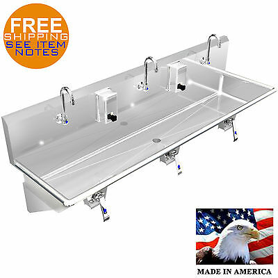 Multi Station 3 Wash Up Hand Sink 72 Knee Valve Stainless Steel Made In America