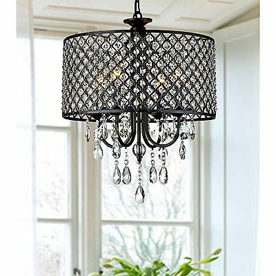 4-light Round Crystal Chandelier Drum pendant ceiling