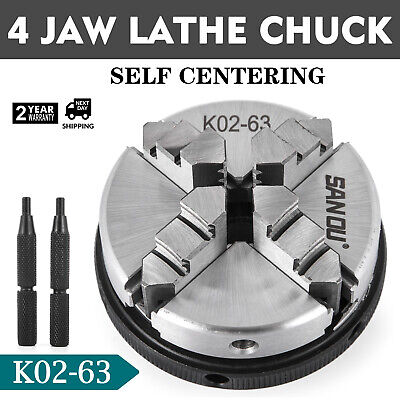 Lathe Chuck K02-63 Mini 4 Jaw 2.5 63mm M14 Reversable Self-centering Jaws