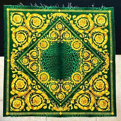 "ATELIER VERSACE green velvet fabric panel Wild Baroque print size 53"" square"