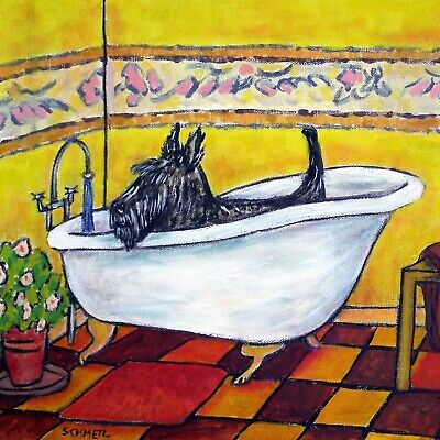 scottish terrier taking a bath bathroom dog art tile coaster gift ()