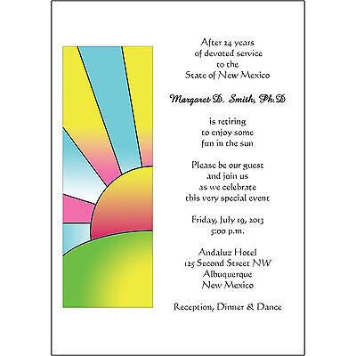 - 25 Personalized Retirement Party Invitations  - RPIT-19 Sunrise