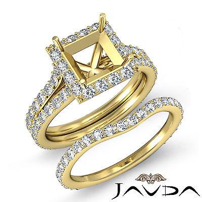 Princess Diamond Semi Mount Engagement Ring Bridal Set 14k Gold Yellow 1.88 ct.