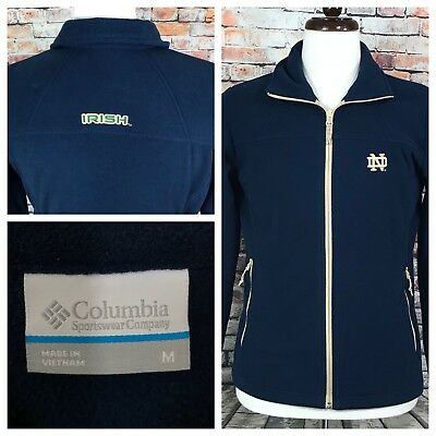 Columbia Damen Full Zip Fleece (Columbia Notre Dame full zip Fleece jacket Navy Blue Women's Medium)