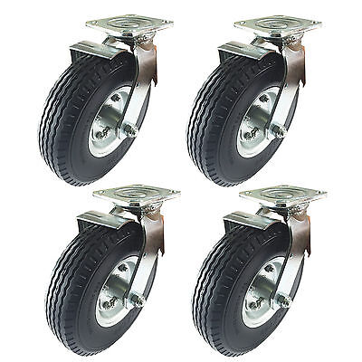 8 X 2-12 Pneumatic Wheel Caster Foam-flat Free - 4 Swivels With Brake