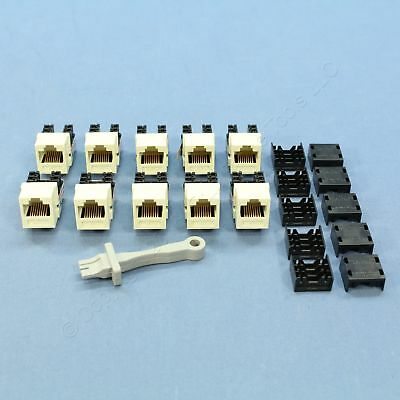 10 Leviton Almond GigaMax Quickport Cat 5e Jacks RJ45 8P8C Category 5e 5G108-A ()
