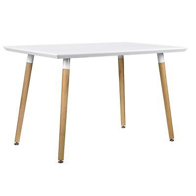 [en.casa]® Esstisch 120x70cm Weiß Matt Eiche Küchentisch Esszimmer Tisch Retro (Esstische)