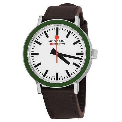Mondaine Men's Gottardo 2016 White Dial Brown Strap Quartz Watch A950030363HSET