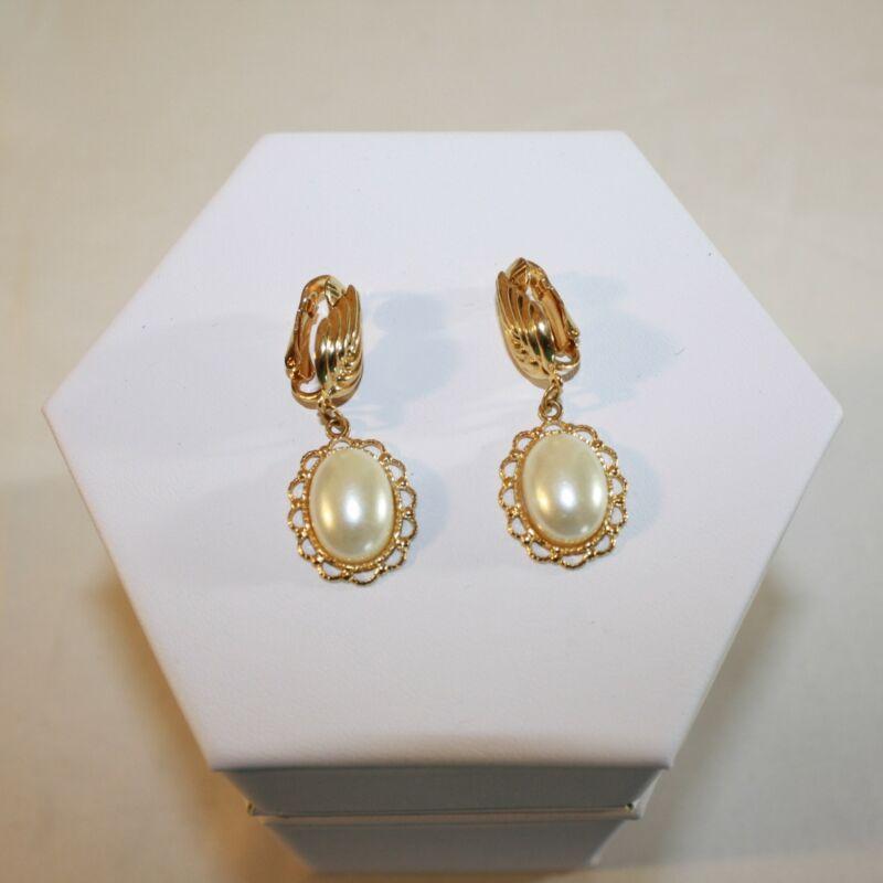 Clip On Earrings, Gold Tone, Drop Earrings, Faux Pearl