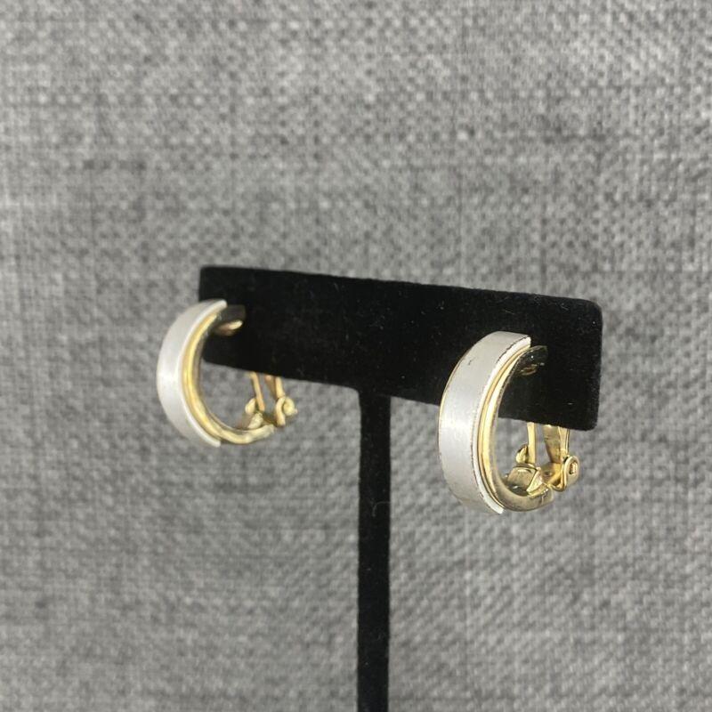 Vintage Silver Chunk Stripe on Gold Hoop Clip On Earrings