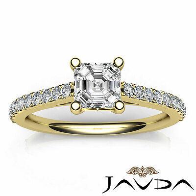 Asscher Diamond Double Prong Set Engagement Ring GIA G VS2 18k White Gold 0.8Ct 10