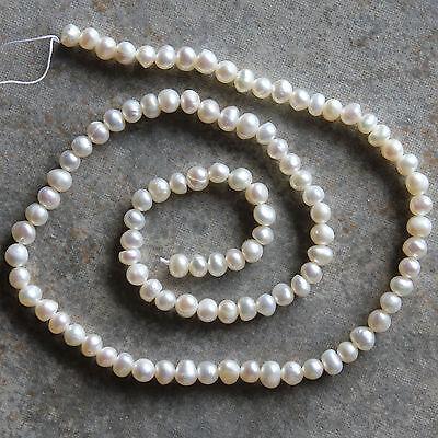 "3-5 mm Natural White Genuine Freshwater Potato Pearl Loose Beads Strand 14.5"""